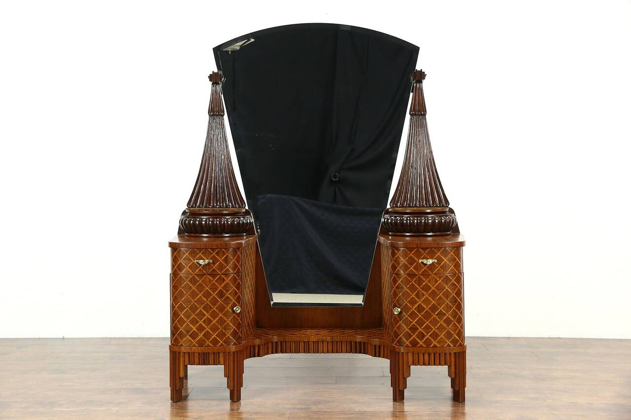 french art deco 1925 antique vanity or dressing table rosewood marquetry ebay. Black Bedroom Furniture Sets. Home Design Ideas