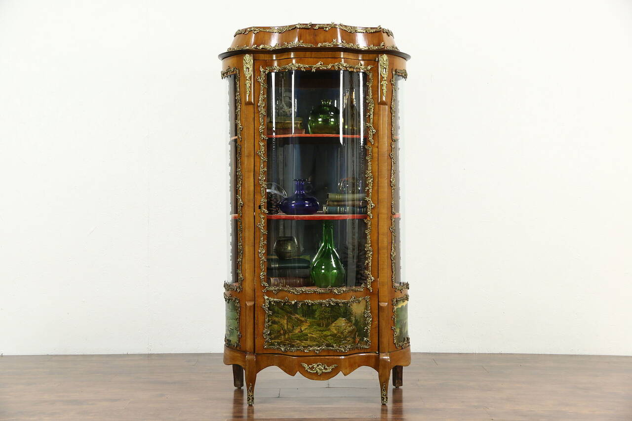 Curved Glass 1900 Antique Curio China Cabinet Scenes