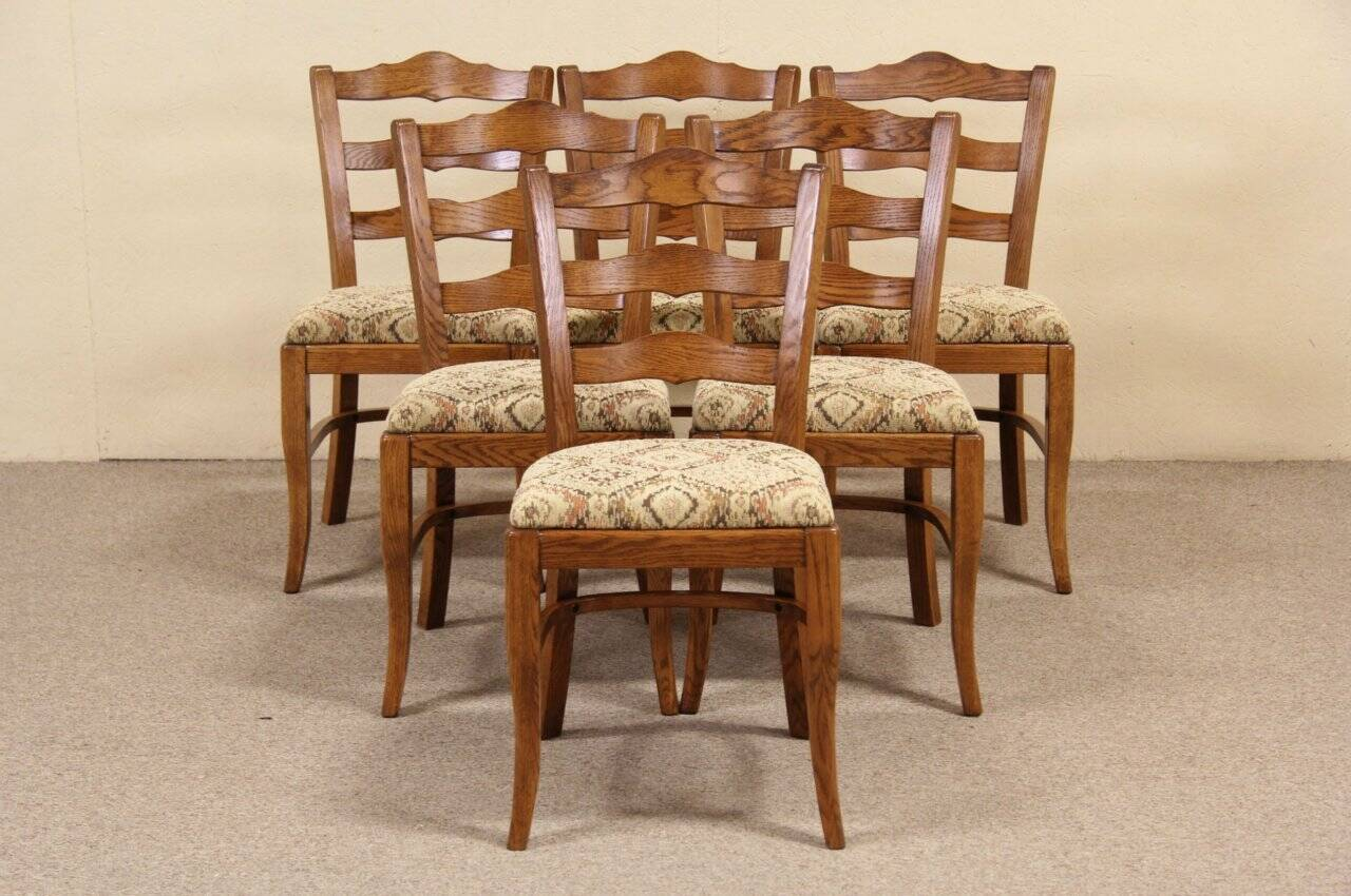 Set of 6 Oak Traditional Country Vintage Dining Chairs ...