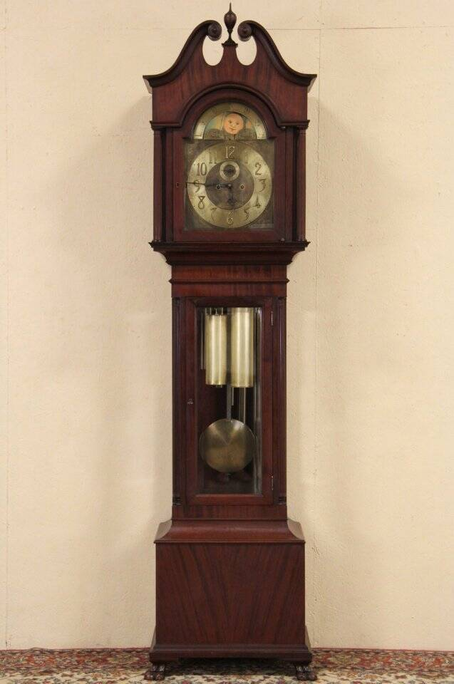 Colonial Long Or Tall Case Grandfather Clock Tubular