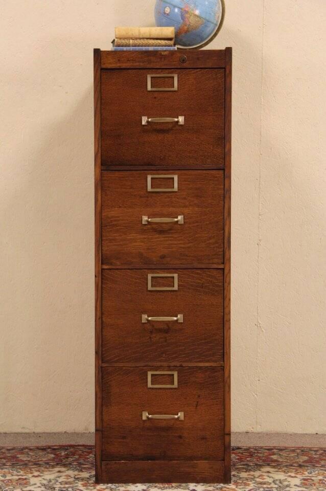 Globe 4 Drawer Oak 1915 Antique Craftsman File Cabinet