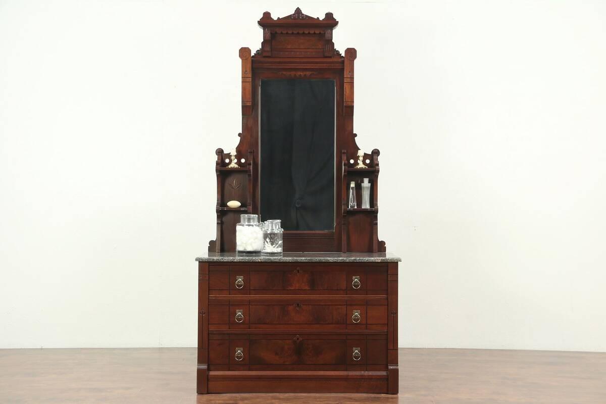 Details About Victorian Eastlake Antique Walnut Chest Or Dresser Mirror Marble Top 29074