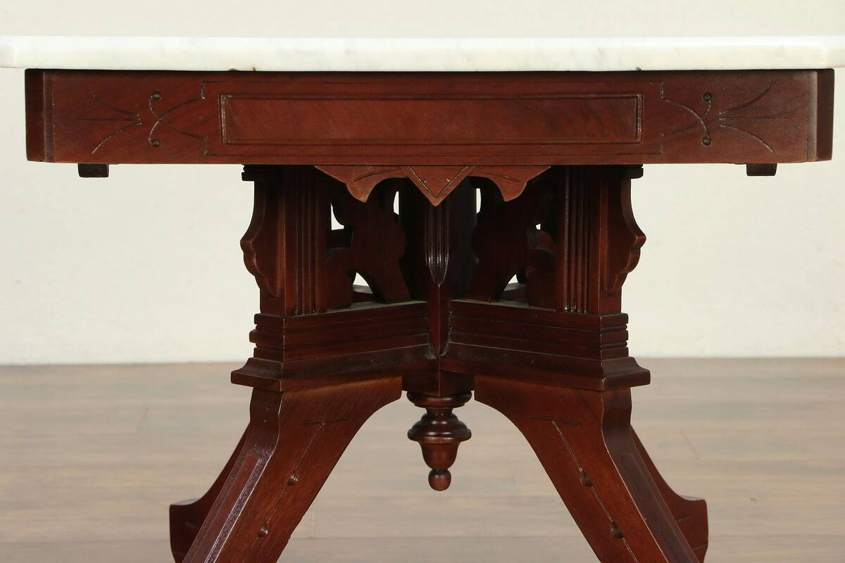 Victorian Eastlake Antique Walnut Marble Top Coffee Table