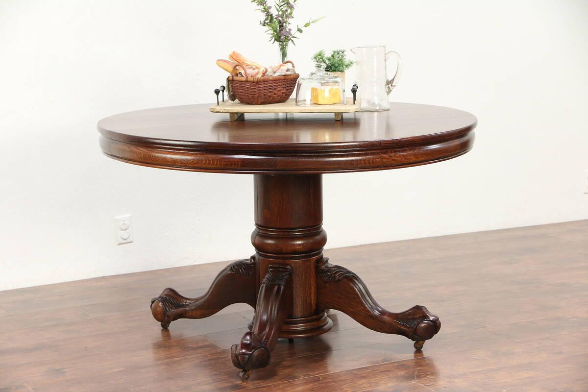 Details About Oak Round 48 Antique Dining Table Eagle Talon Pedestal Extends 10 29820