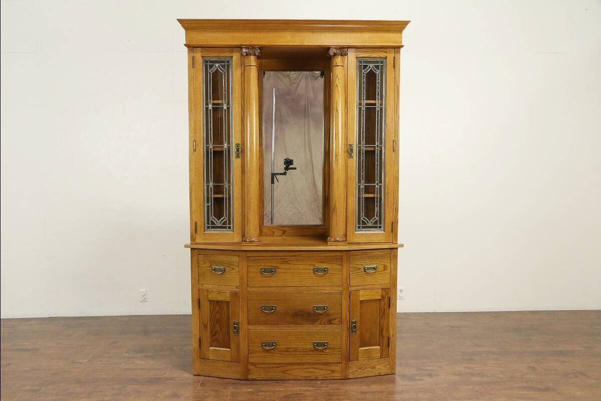 Merveilleux Details About Oak Antique Sideboard, China Cabinet Or Bookcase, Stained  Glass Doors #30155