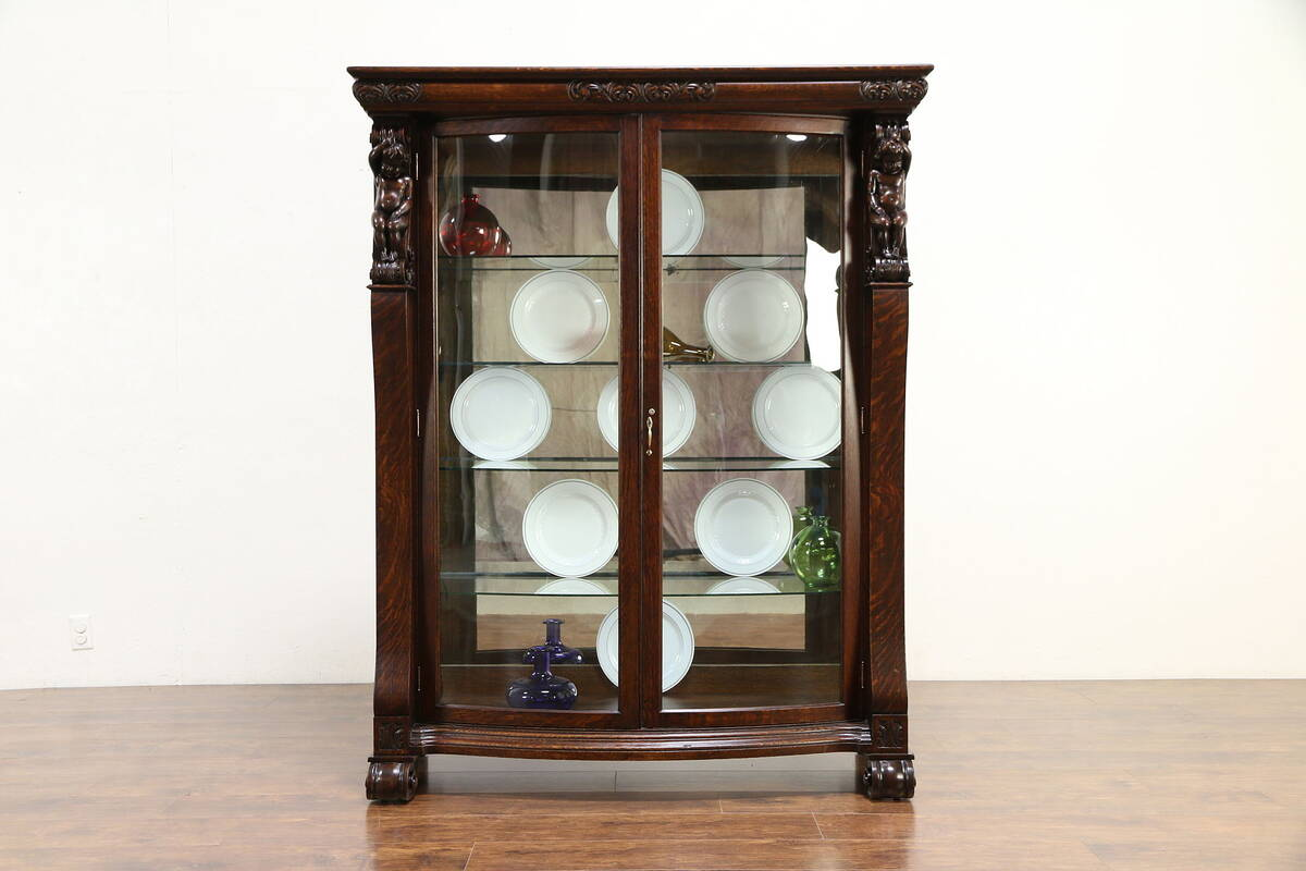 Oak Antique Curved Gl China Curio Display Cabi Angels Or