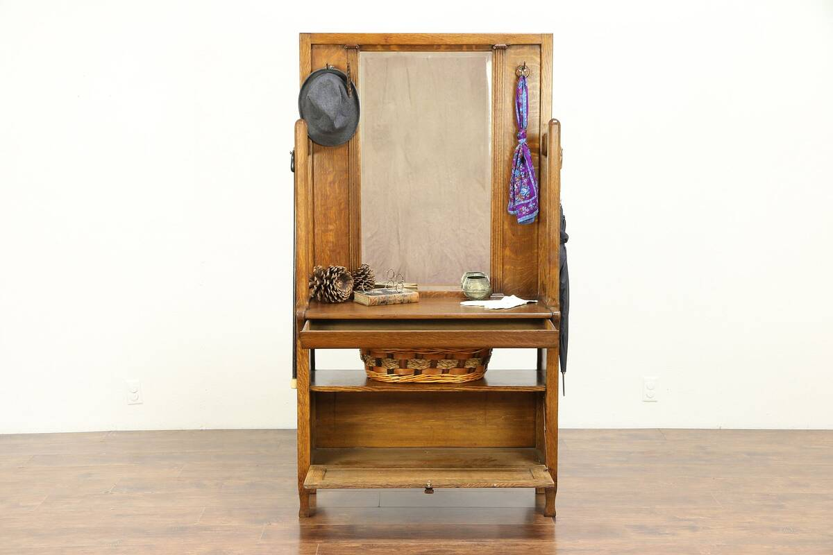 Arts Crafts Mission Oak Antique Craftsman Hall Stand Mirror