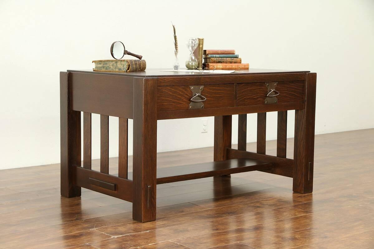 Details About Arts U0026 Crafts Mission Oak Antique Library Table Or Craftsman  Desk #30556