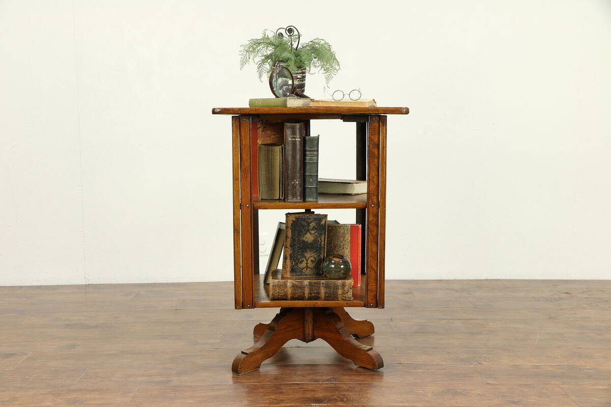 Details About Victorian Antique Butternut Pine Spinning Chairside Revolving Bookcase 30552