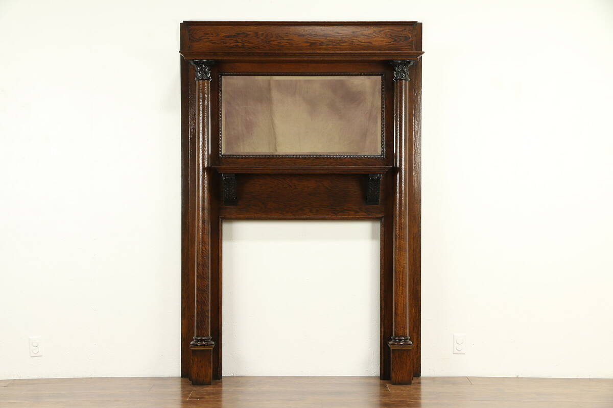 oak antique fireplace mantel architectural salvage beveled mirror rh ebay com antique fireplace mantel montreal antique fireplace mantel appraisal