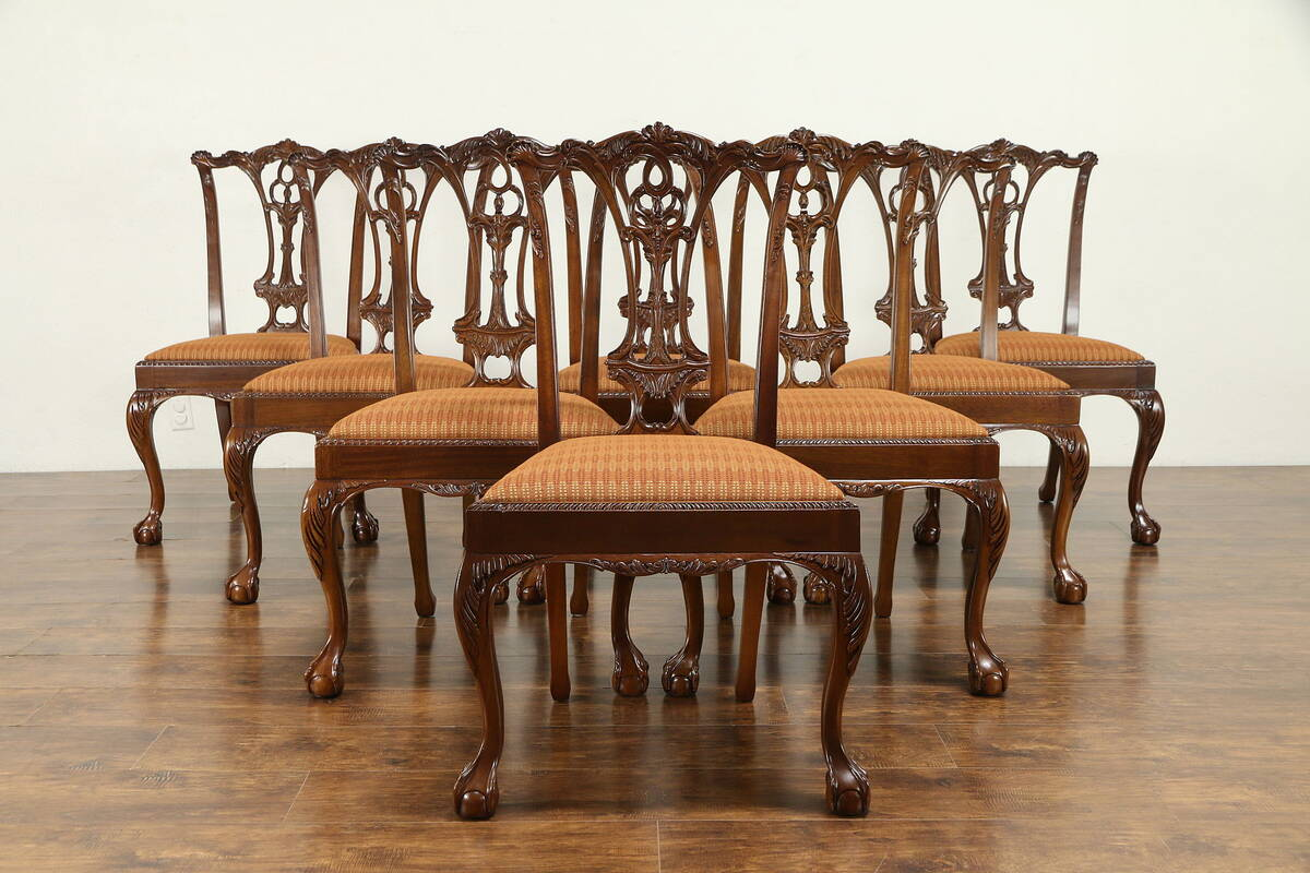 Details About Set Of 8 Georgian Style Carved Mahogany Vintage Dining Chairs 30929