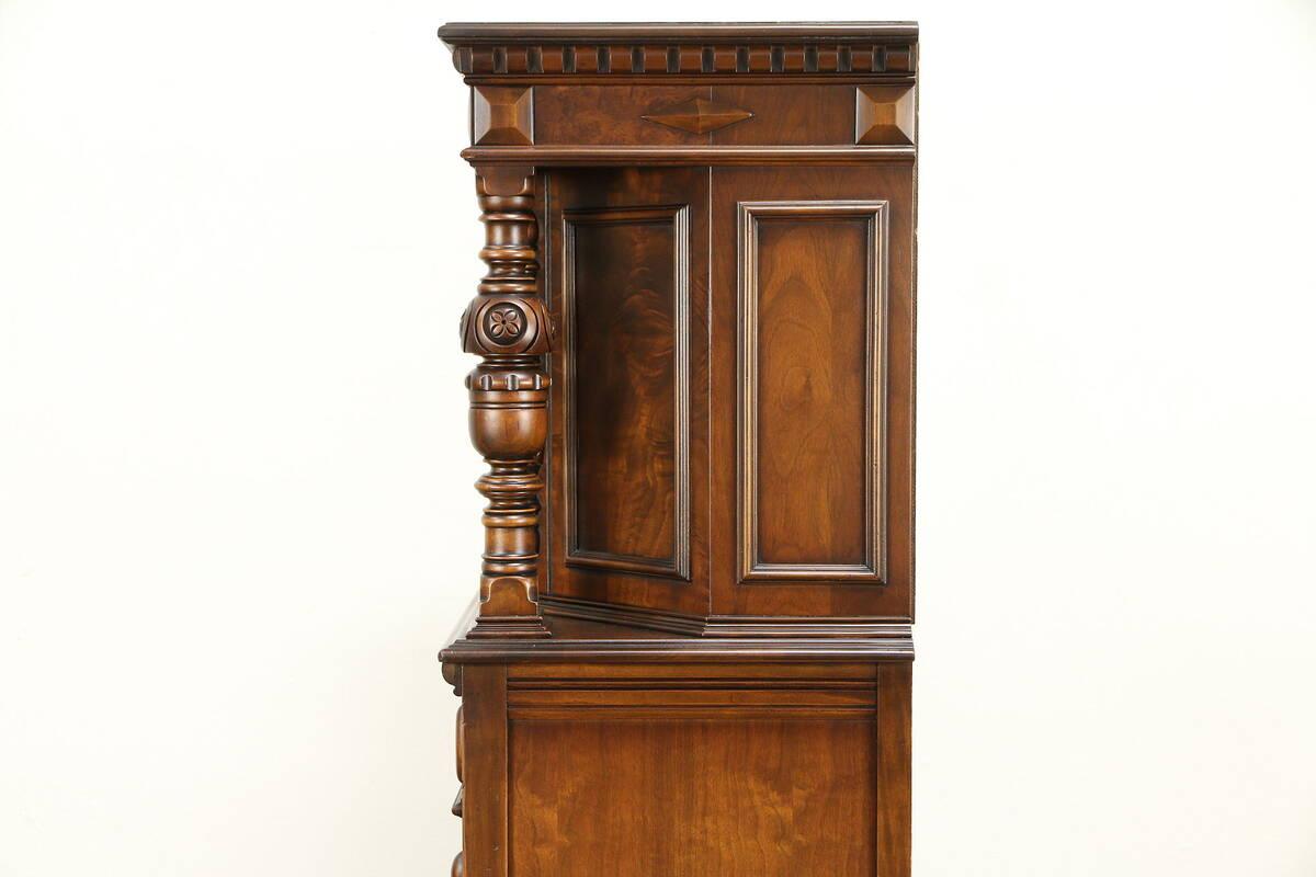 English Tudor Style Antique China Or Bar Cabinet