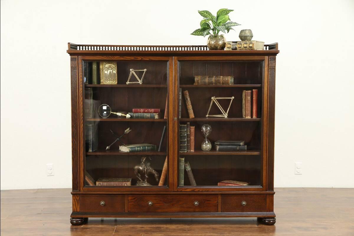 Details About Oak Antique 1890 Library Bookcase Wavy Glass Doors Adjustable Shelves 31088