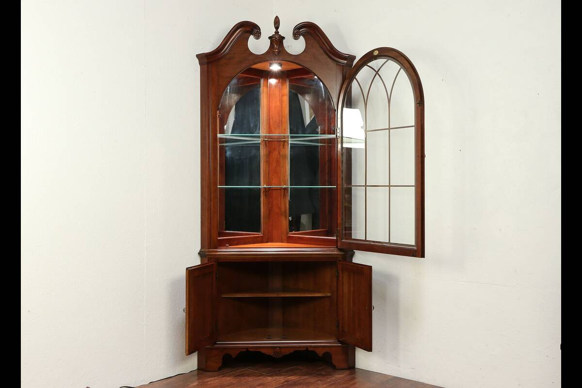 Traditional Cherry Vintage Corner Cabinet or Cupboard ...