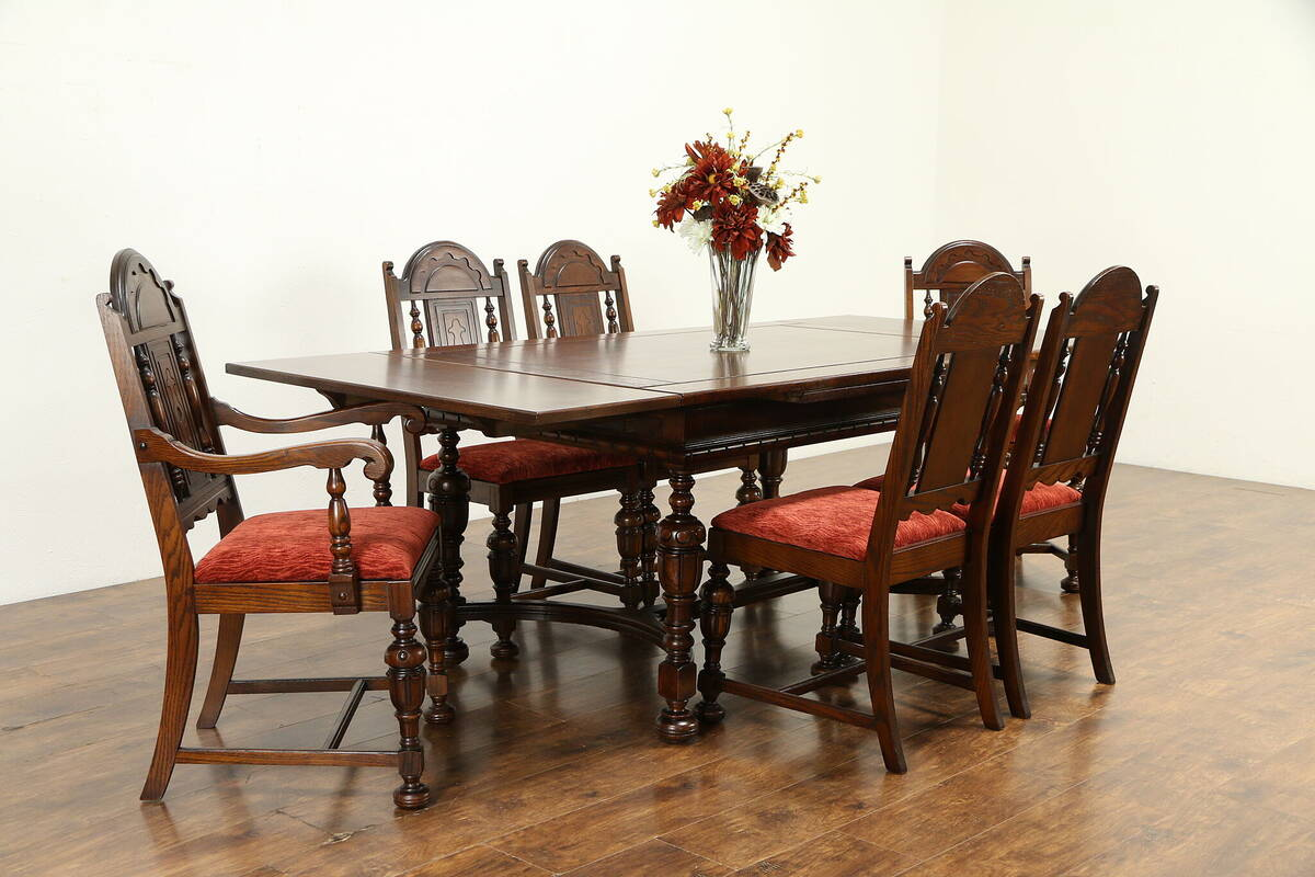 Details about English Tudor Style Antique Oak & Walnut Dining Set, Table, 6  Chairs #31590