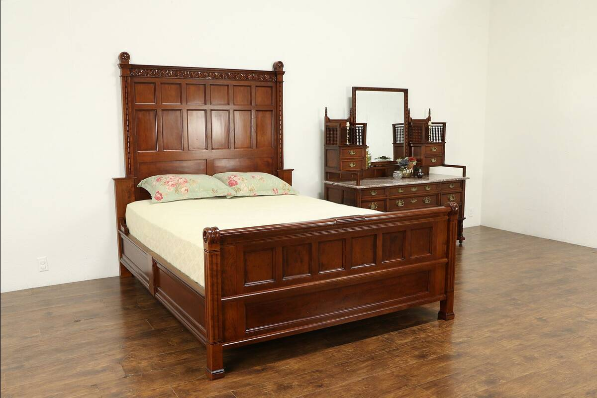 Details about Carved Cherry Antique Bedroom Set, Queen Size Bed, Marble Top  Dresser #31732