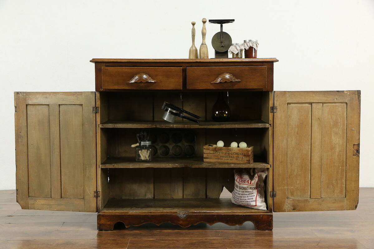Victorian Antique Butternut Kitchen Pantry Cabinet, Jelly ...