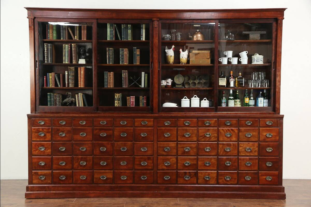 Apothecary or Drug Store Antique Cabinet, 60 Drawers, Sliding Glass Doors - Apothecary Cabinet EBay