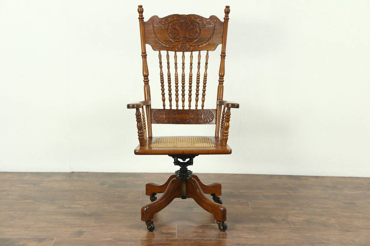 antique swivel office chair. Victorian 1900 Antique Swivel Adjustable Desk Chair, Carved Press Back Office Chair G