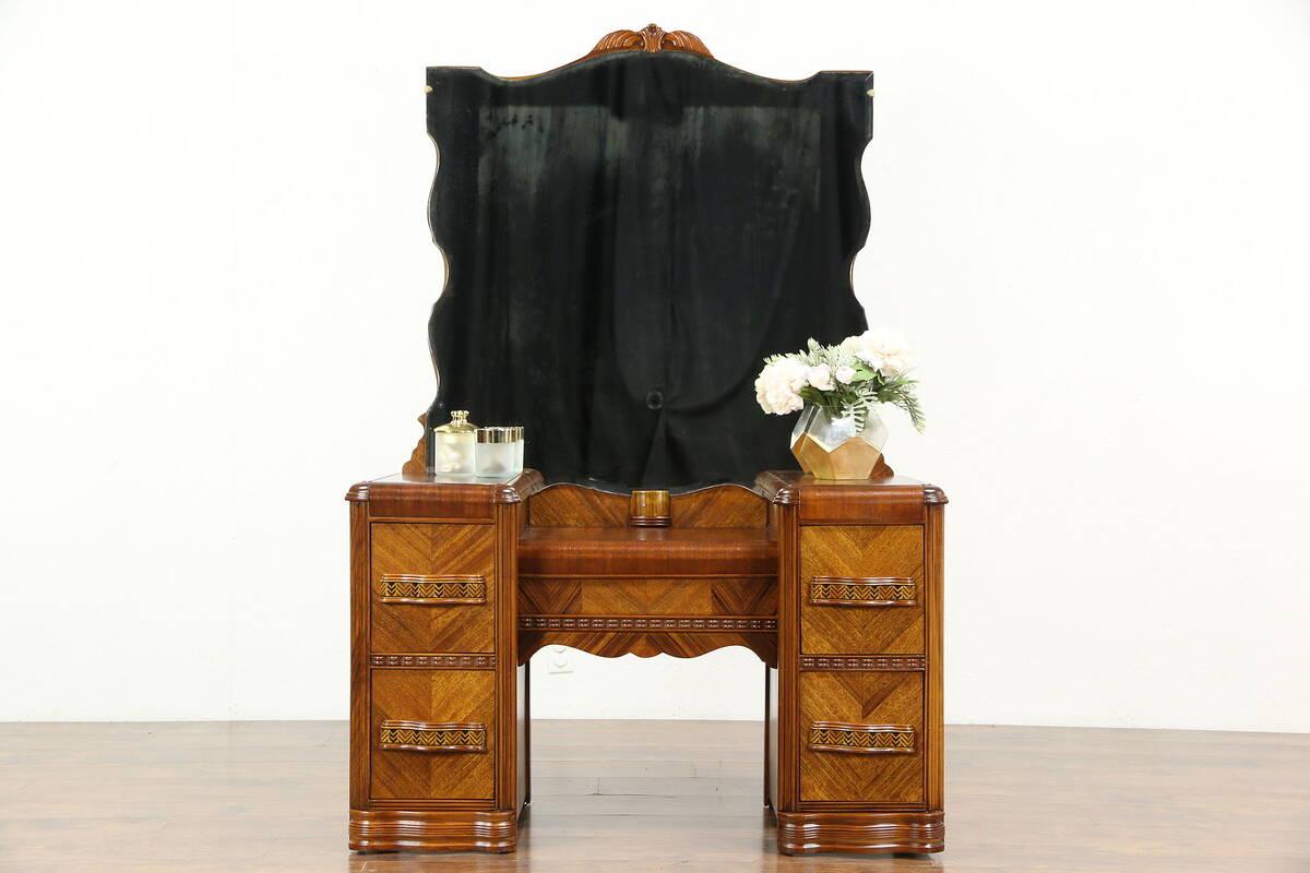 Art Deco Waterfall 1930's Vintage Vanity or Dressing Table & Mirror - Antique Vanity Table EBay