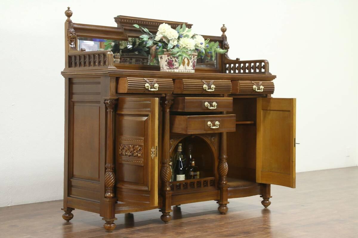 Oak Antique Carved Lion Sideboard Server Buffet Or Back