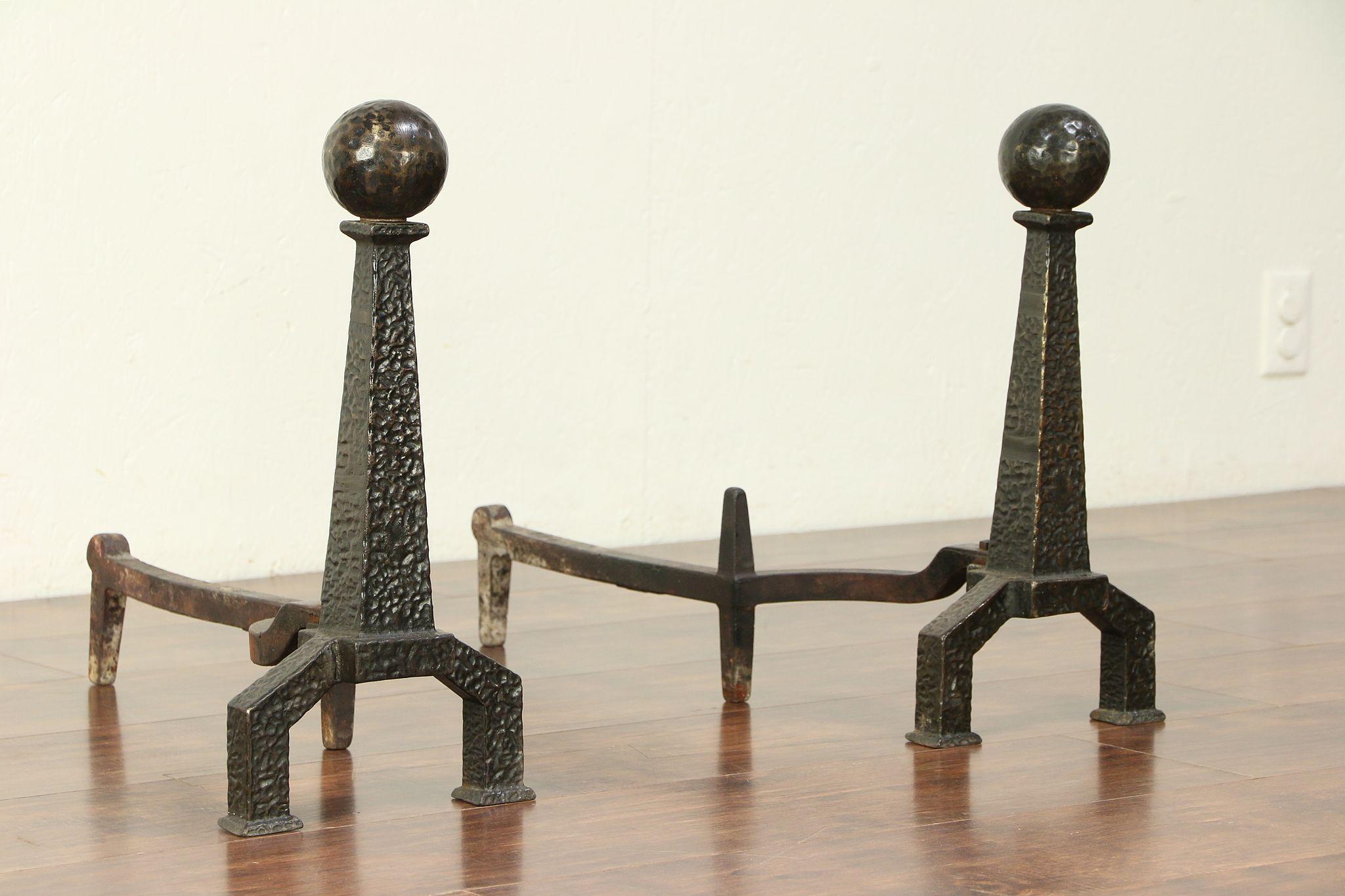 Antique Arts /& Crafts Pair Andirons