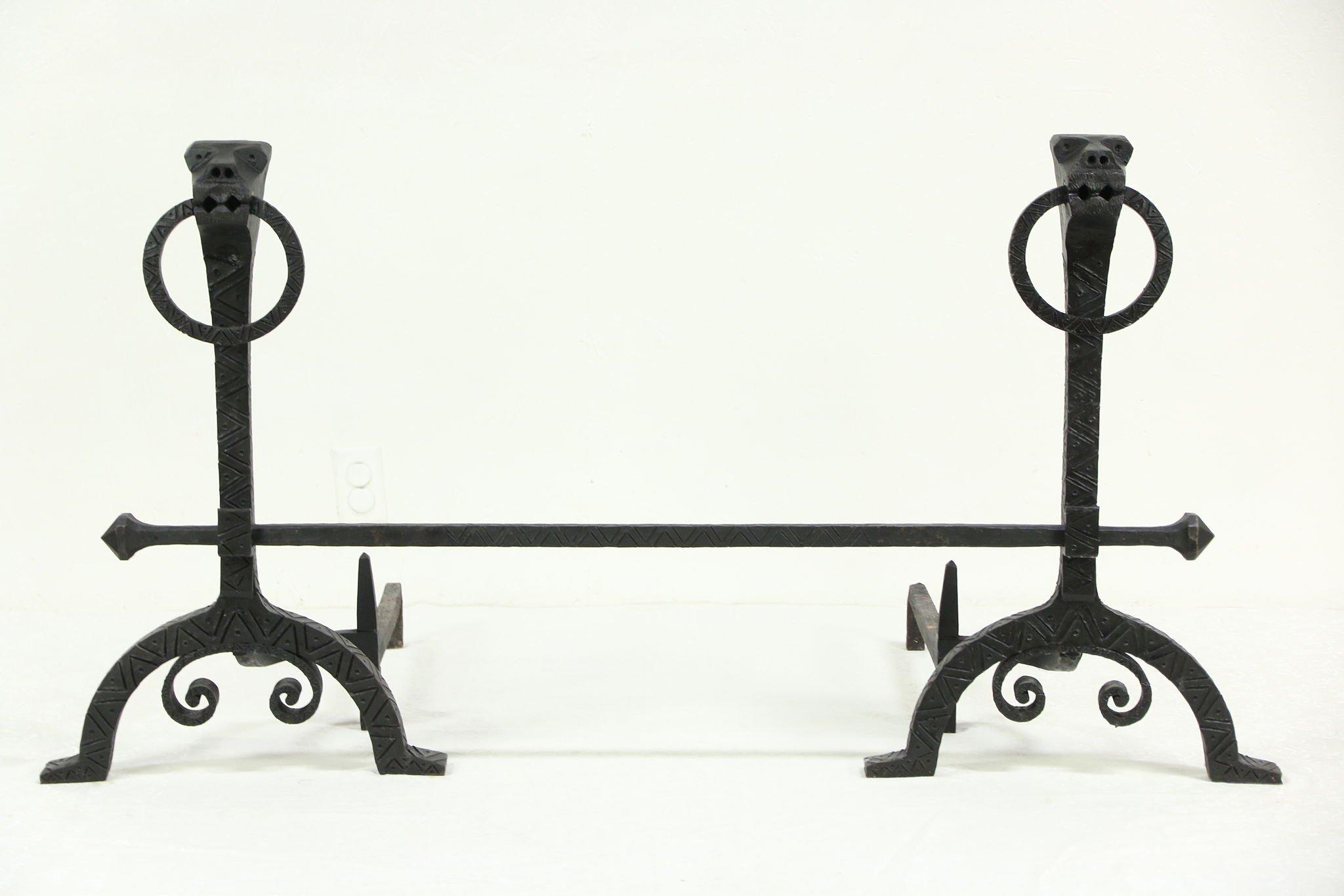 Sold Pair Of Giant Vintage Figural Wrought Iron Fireplace Andirons