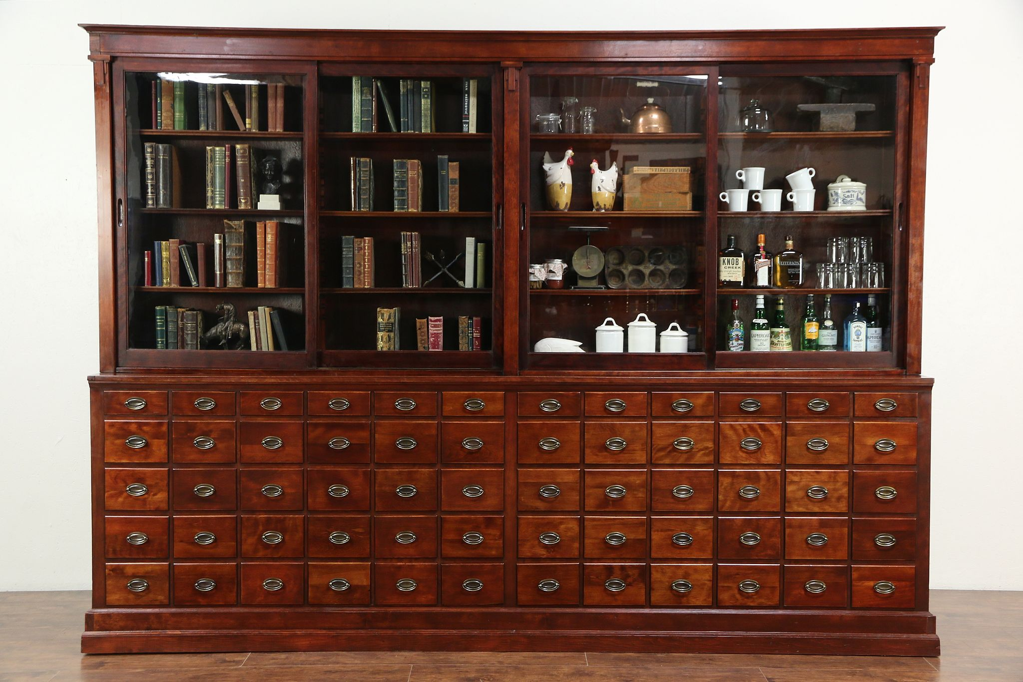 Apothecary Or Drug Store Antique Cabinet, 60 Drawers, Sliding Glass Doors  ...