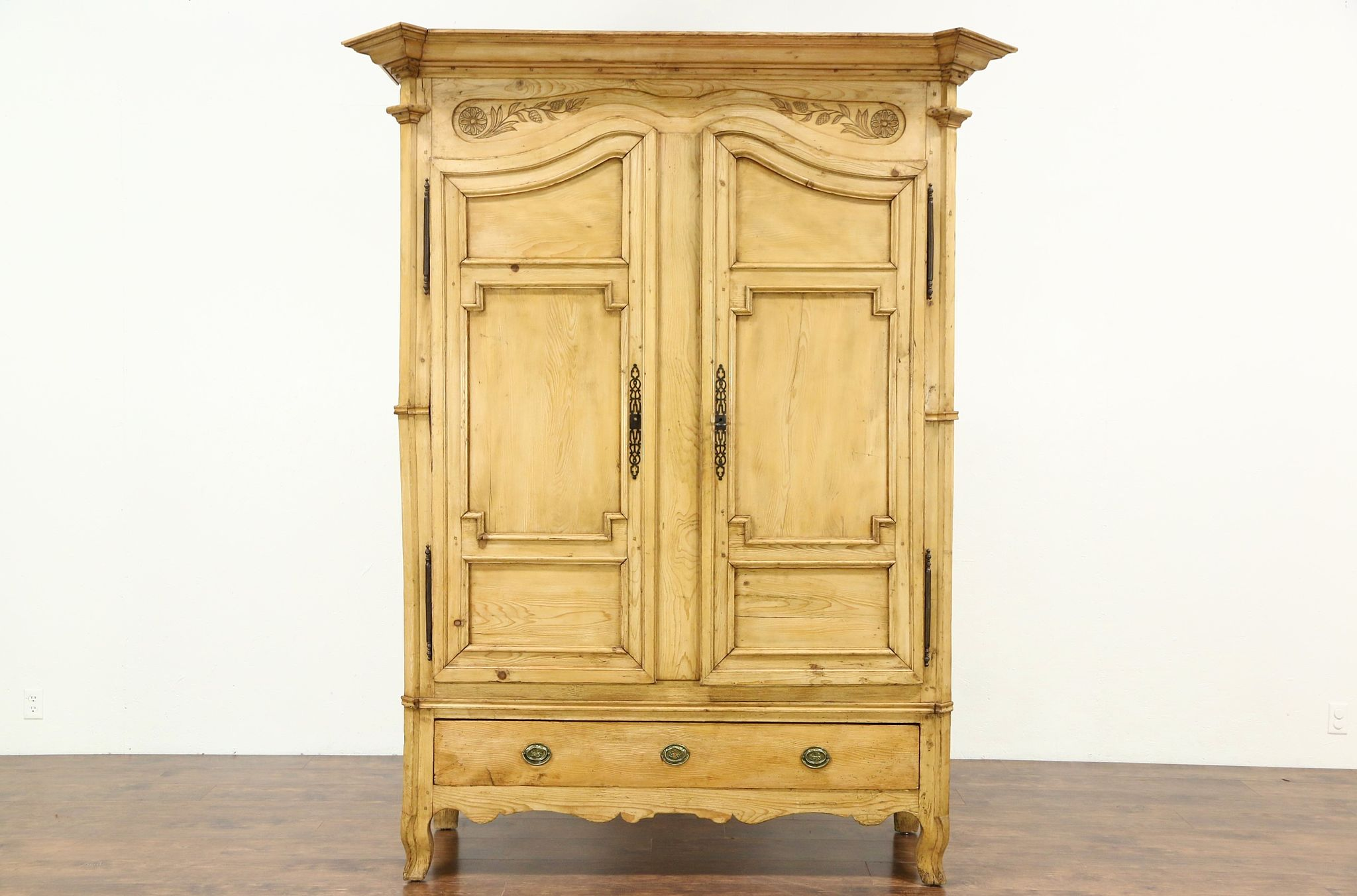 Country Pine Carved French Provincial Antique 1870 Armoire Or Wardrobe ...