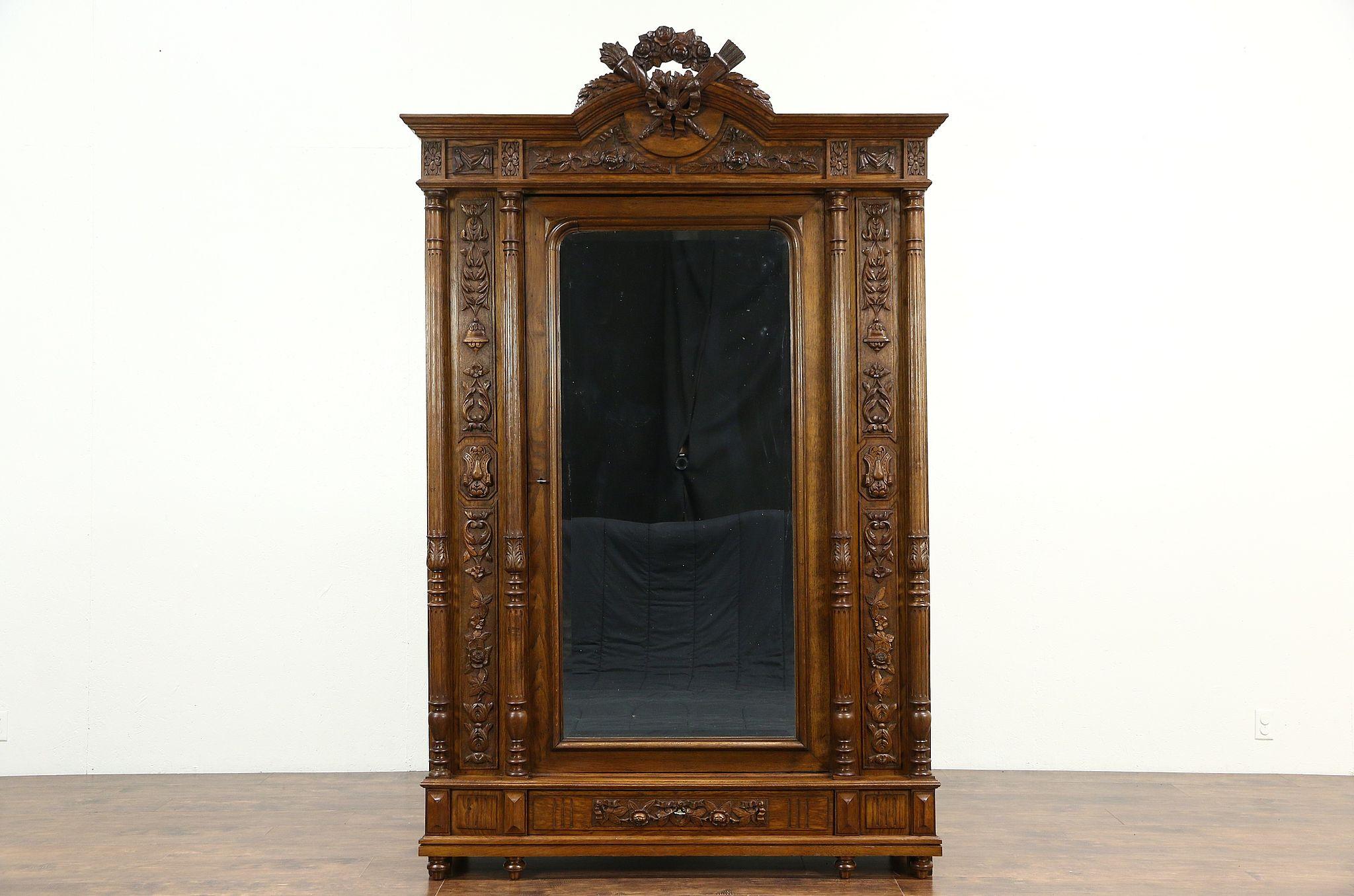 French Louis XVI Antique 1890 Carved Oak U0026 Chestnut Armoire, Wardrobe Or  Closet ...