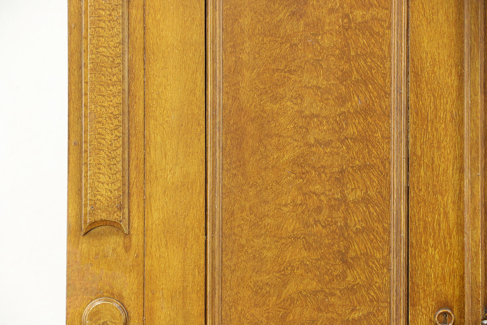 Grain Painted 1870 Antique Walnut Armoire, Wardrobe Or Closet, Carved Hooks  ...
