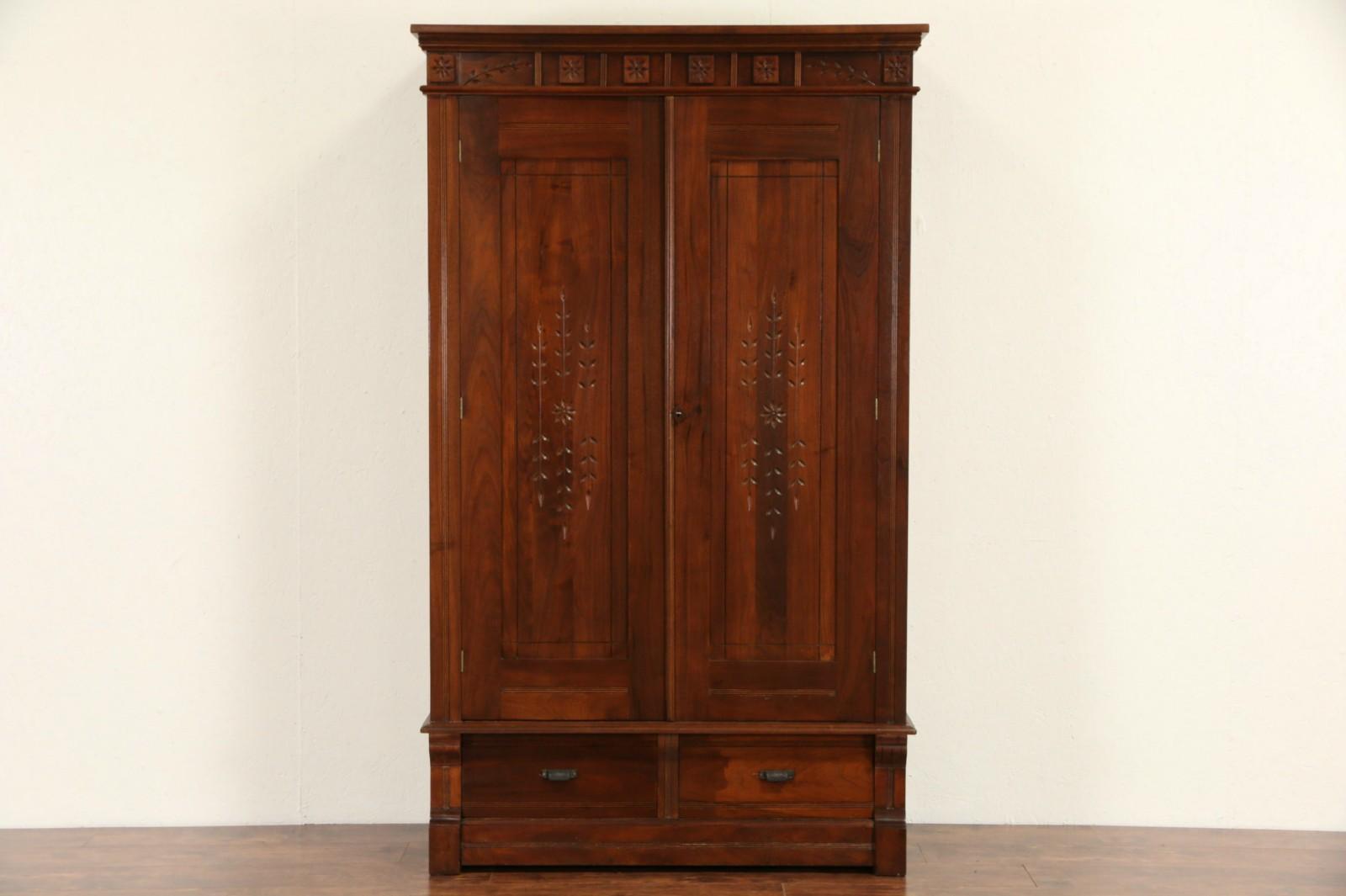 Merveilleux Victorian Eastlake 1880 Antique Walnut Armoire, Closet Or Wardrobe ...
