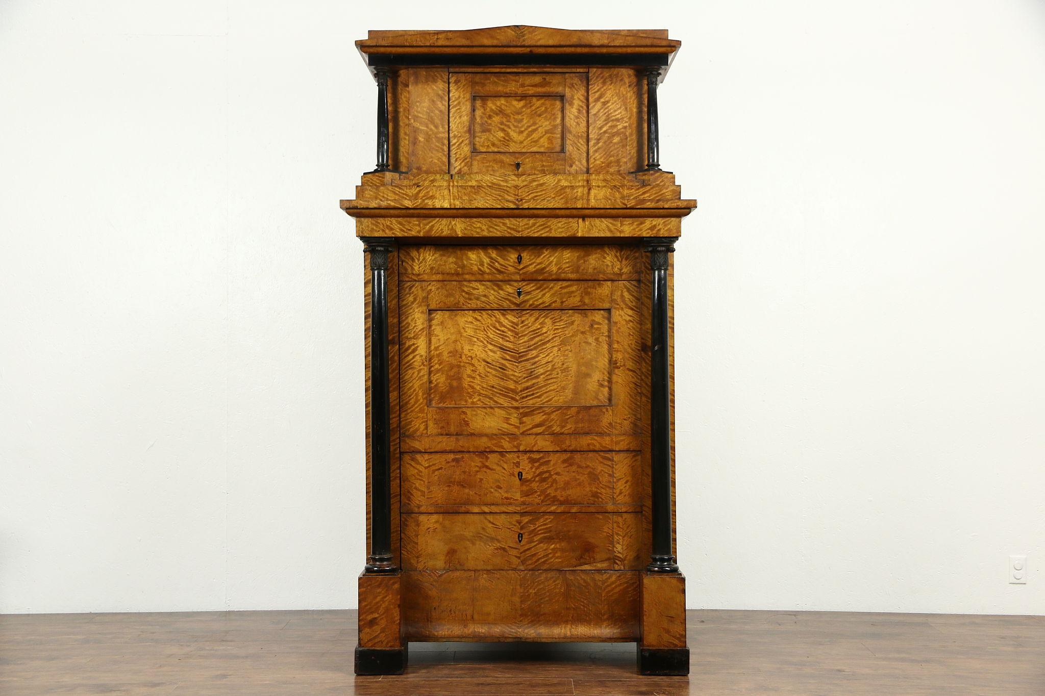 biedermeier austrian antique armoire wardrobe curly birch secret compartment antique armoires antique wardrobes english