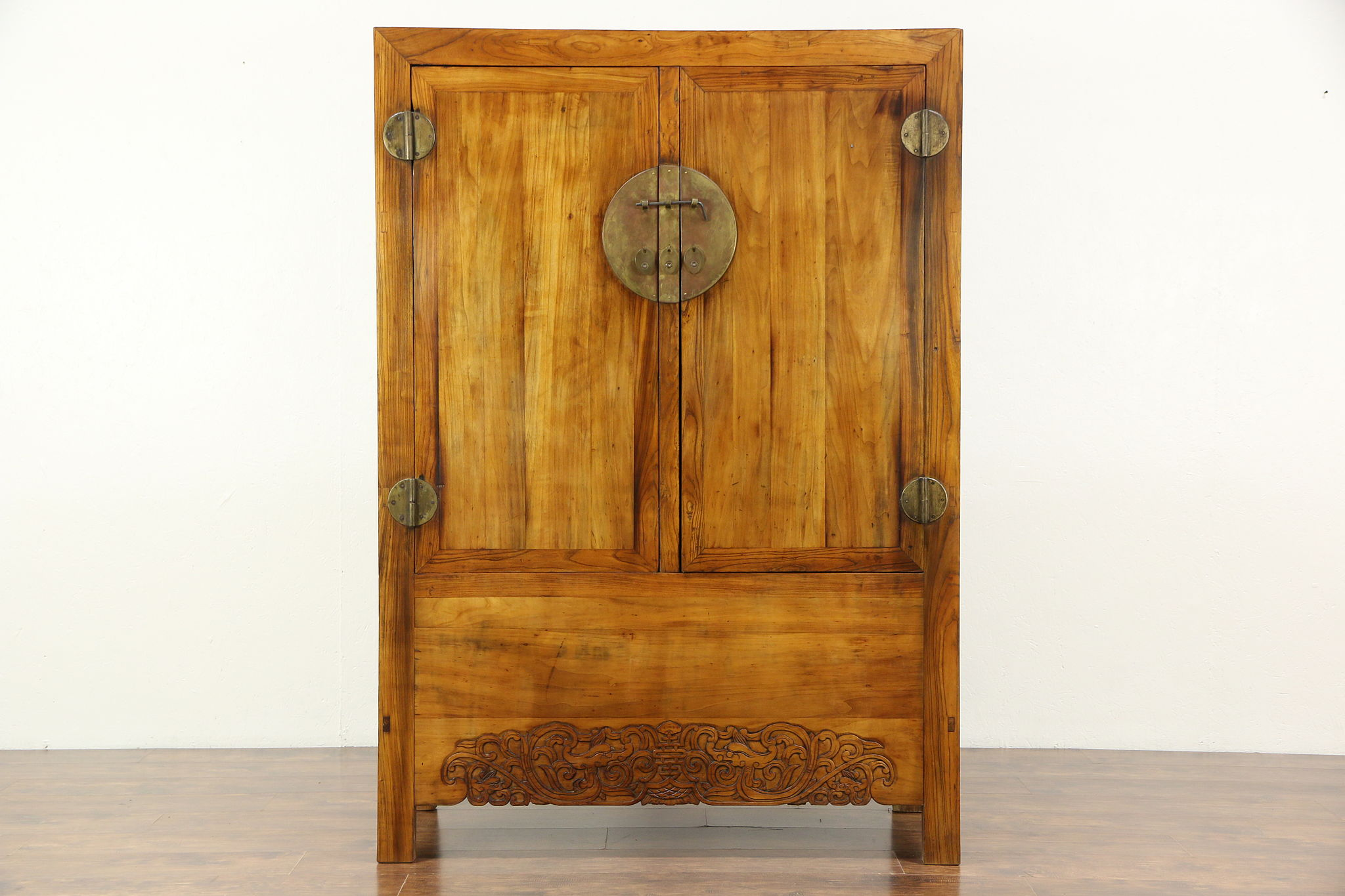 Attractive Chinese Antique Armoire Or Cabinet, Hand Carved, Original Brass Hardware ...