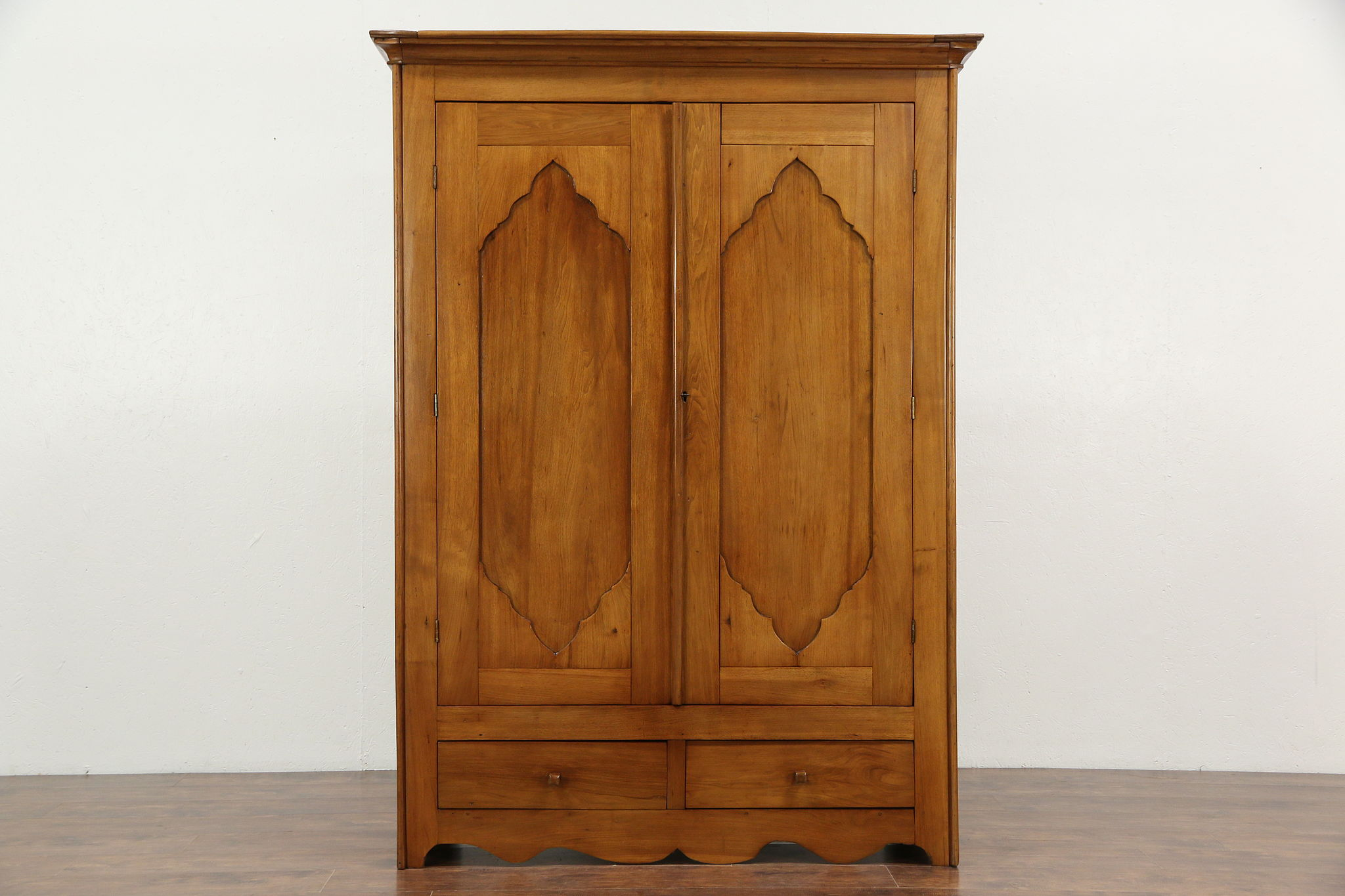 Victorian 1850 Antique Hand Crafted Butternut Armoire