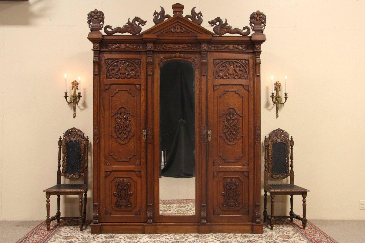 Oak 1880 Antique Armoire Or 3 Door Closet, Carved Dragons U0026 Birds