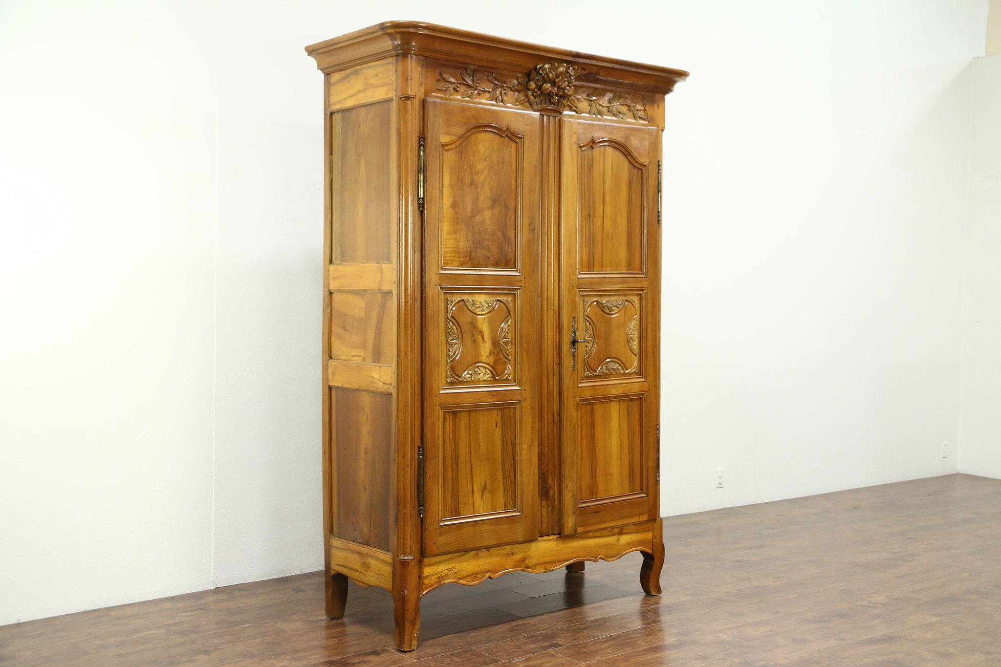 french antique hand carved armoire. French Antique 1780 Fruitwood Armoire Wardrobe, Hand Carved Fruit \u0026 Bird Motifs