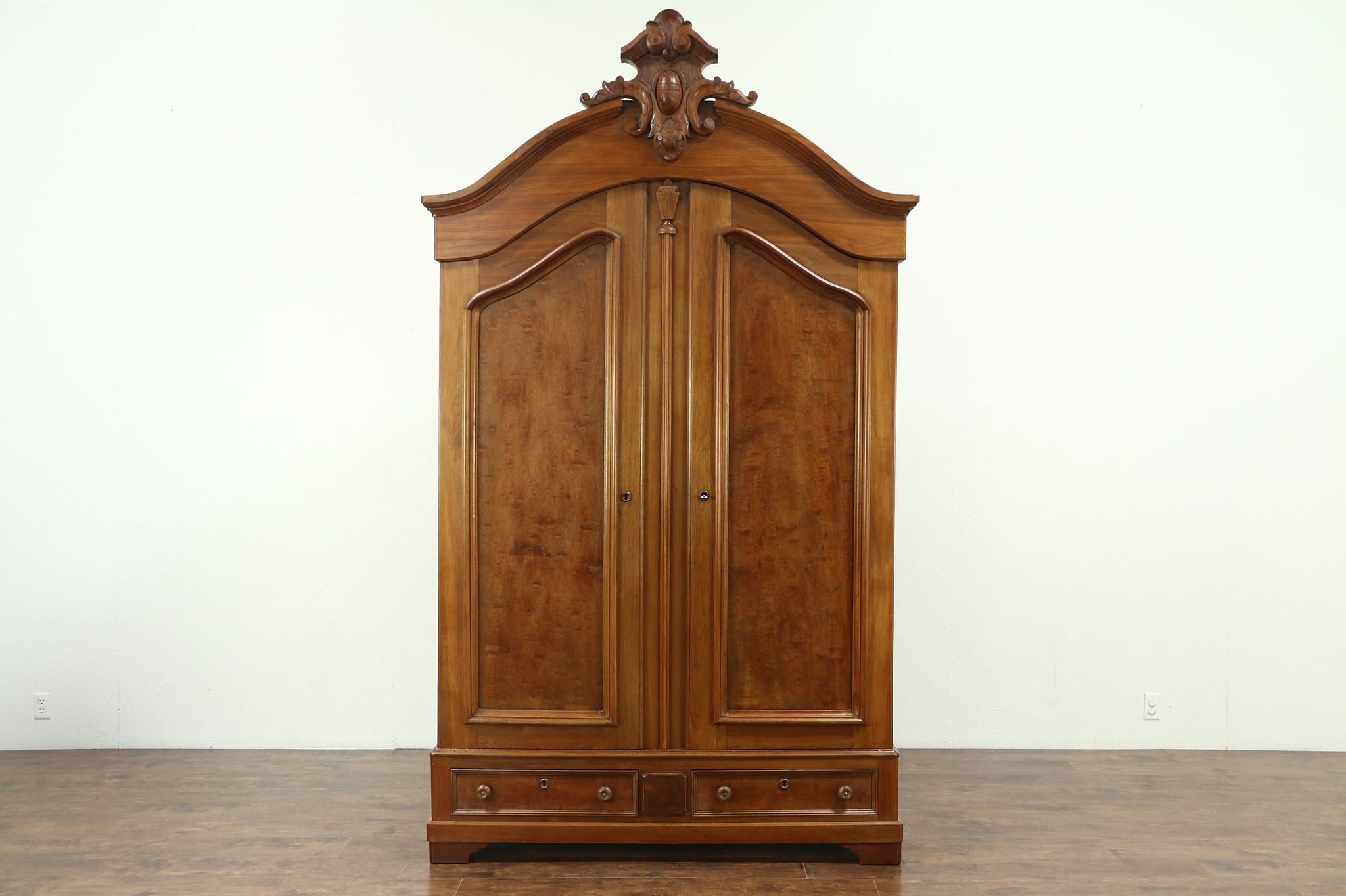 Ordinaire Victorian Antique 1860 Walnut Armoire, Closet Or Wardrobe #28644