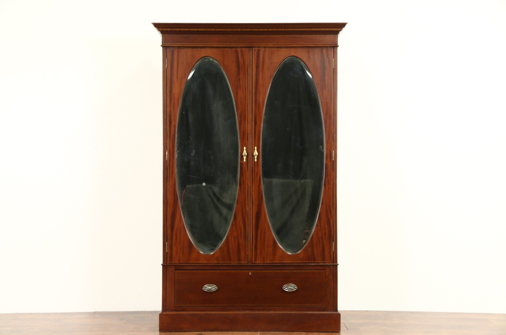 SOLD - English 1910 Antique Armoire or Wardrobe Closet, Oval ...