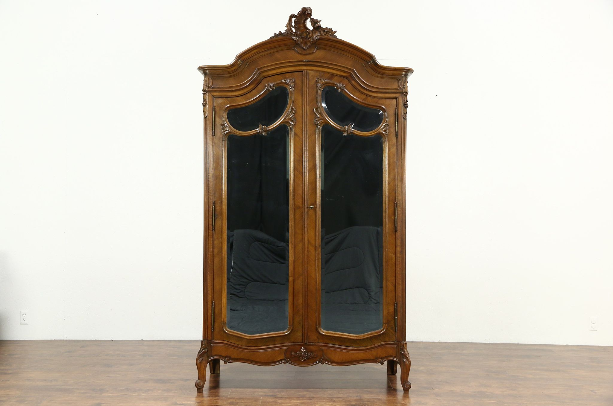 Sold french antique shell carved walnut armoire beveled mirror