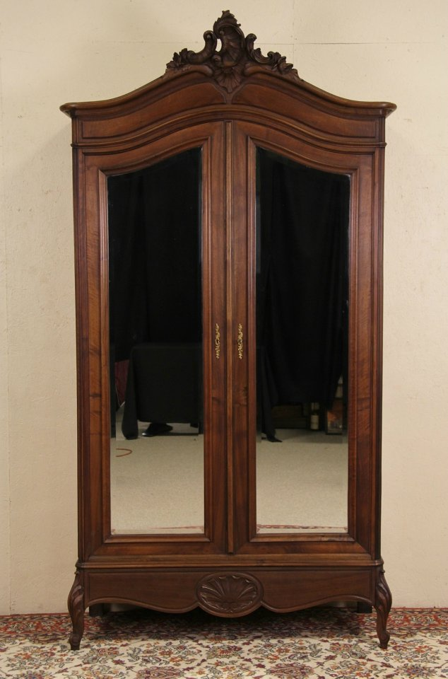 SOLD - Country French Carved 1900 Antique Armoire or Wardrobe ...