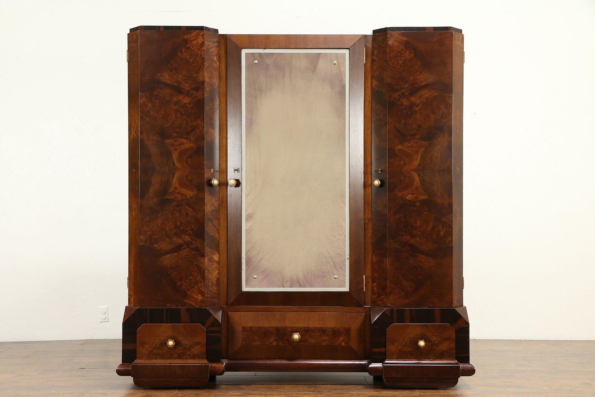 Sold Italian Art Deco Rosewood Antique Armoire Closet Or Wardrobe 31555 Harp Gallery Antiques Furniture