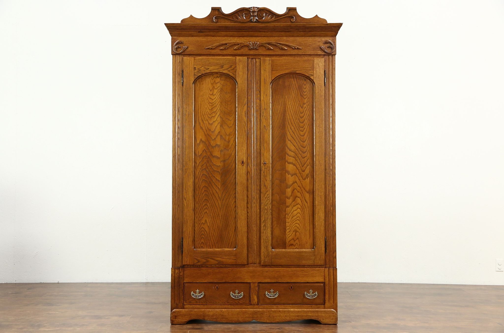 Oak Carved Victorian 1895 Antique Armoire Wardrobe Or
