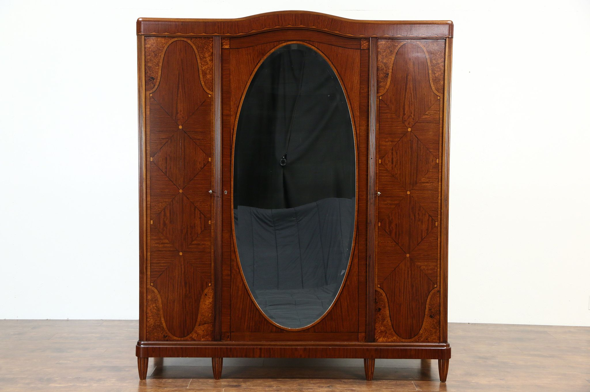 Sold Armoire Wardrobe Or Closet 1925 English Art Deco Rosewood Marquetry Harp Gallery Antiques Furniture