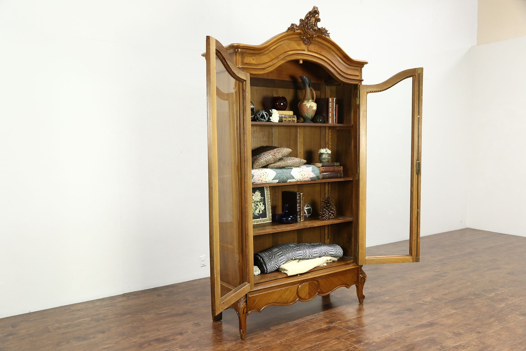 french antique carved fruitwood armoire bookcase or china cabinet