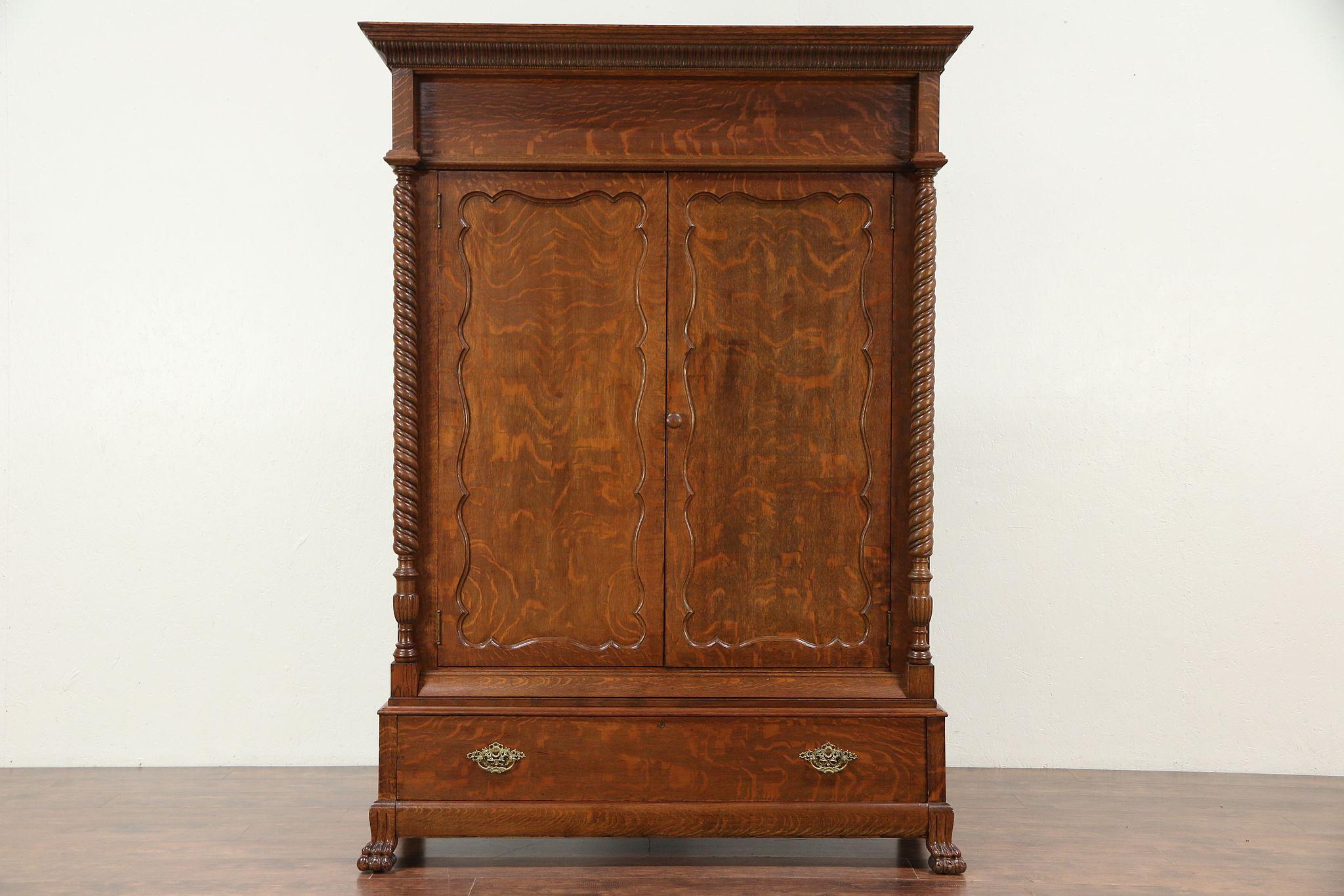 Sold Victorian Oak Antique Armoire Wardrobe Or Closet Spiral Columns 29417 Harp Gallery Antiques Furniture