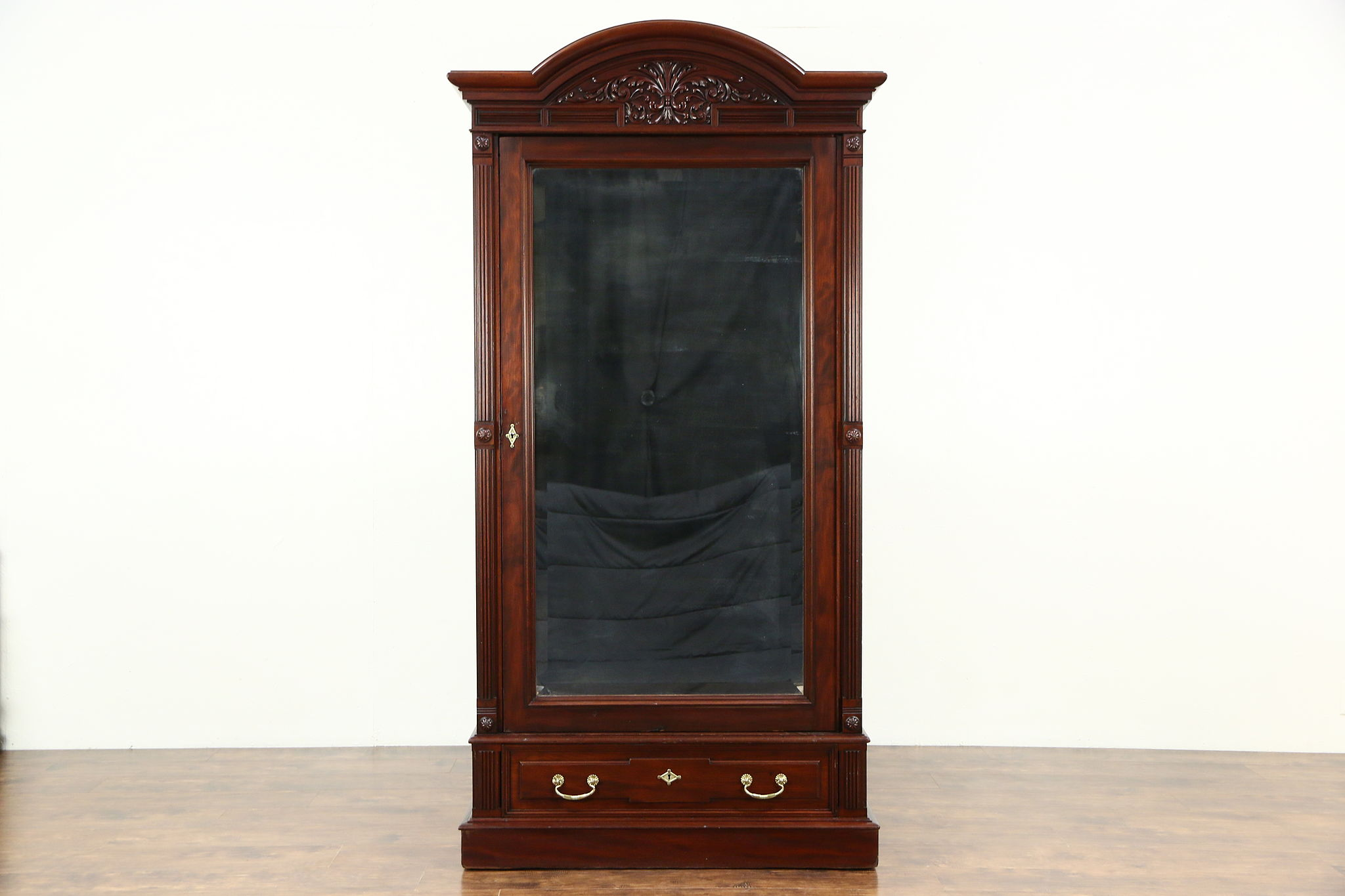 Mahogany 1875 Antique Armoire, Wardrobe Or Closet, Beveled Mirror Door ...