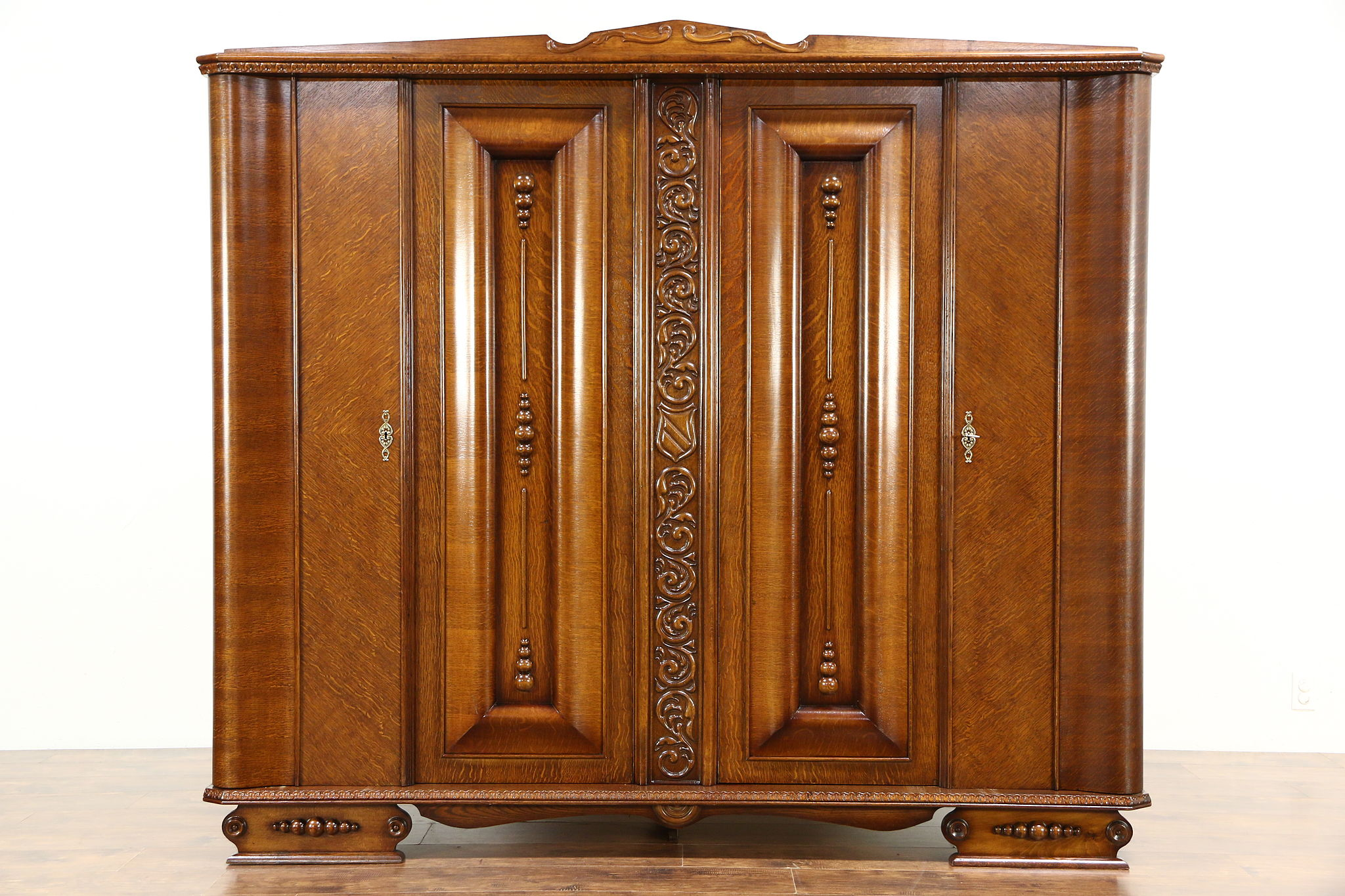 Sold Art Deco 1930 Vintage Carved Oak Armoire Wardrobe