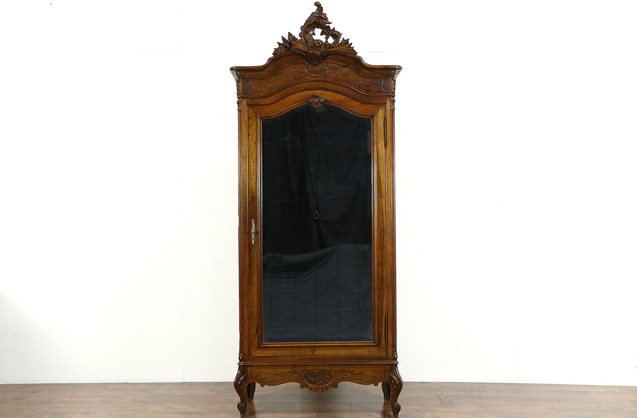 French Carved Walnut 1900 Antique Armoire, Beveled Mirror Door ...