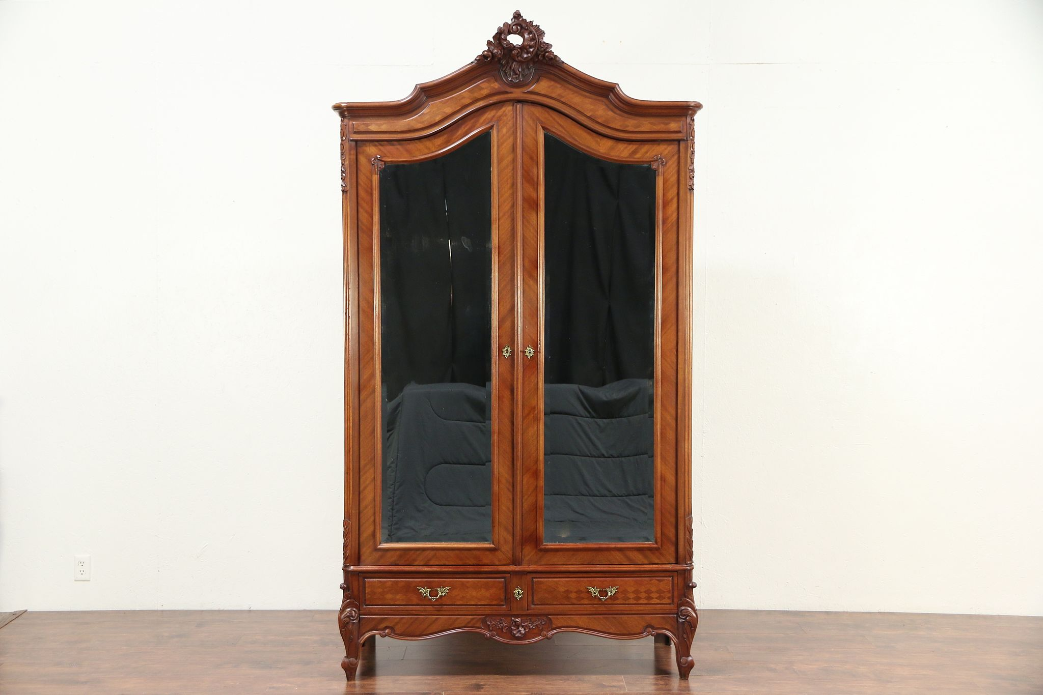 wholesale dealer 22aaf 6e667 French Antique Mahogany Armoire, Beveled Mirror Doors, Shelves #29589
